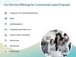 Our Service Offerings For Commercial Lease Proposal Ppt Powerpoint Presentation Infographics Slides