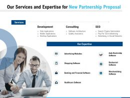 Our Services And Expertise For New Partnership Proposal Ppt Powerpoint Presentation