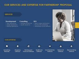 Our Services And Expertise For Partnership Proposal Ppt Powerpoint Deck