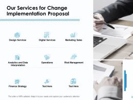 Our Services For Change Implementation Proposal Ppt Icon Slide