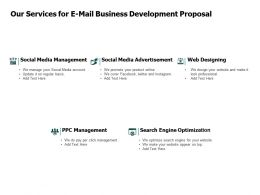 Our Services For E Mail Business Development Proposal Social Media Ppt Powerpoint Presentation Layouts Diagrams
