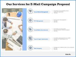 Our Services For E Mail Campaign Proposal Ppt Powerpoint Presentation Example