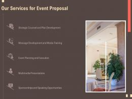 Our Services For Event Proposal Multimedia Ppt Powerpoint File Slides