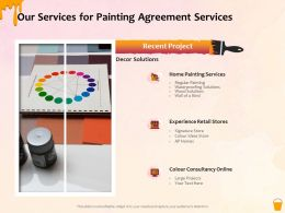 Our Services For Painting Agreement Services Ppt Powerpoint Presentation Gallery Files