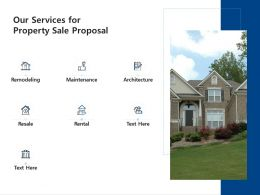 Our Services For Property Sale Proposal Ppt Powerpoint Presentation Visual Aids