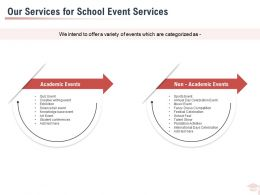 Our Services For School Event Services Ppt Powerpoint Presentation Styles Pictures