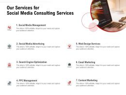 Our Services For Social Media Consulting Services Ppt Powerpoint Presentation Examples