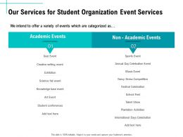 Our Services For Student Organization Event Services Ppt Templates
