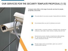 Our Services For The Security Template Proposal Ppt Powerpoint Presentation Professional Display