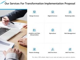 Our Services For Transformation Implementation Proposal Ppt Slides Shapes