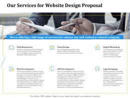 Our Services For Website Design Proposal Ppt Powerpoint Presentation Summary