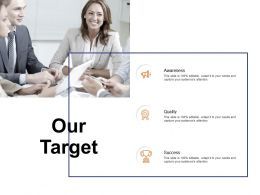 Our Target Awareness Quality Success C132 Ppt Powerpoint Presentation Model Designs