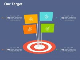 Our Target With Four Icons Ppt File Infographics