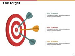 Our Target With Three Arrows Ppt Summary Slide Portrait