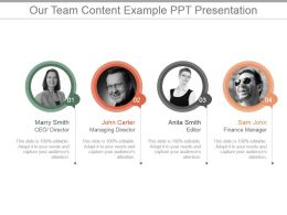 Our Team Content Example Ppt Presentation