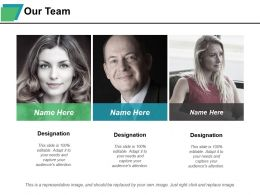 Our Team Designation With Three Images Ppt Styles Portrait