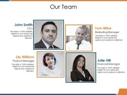 Our Team Ppt Visual Aids Portfolio