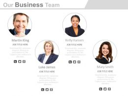 Our Team With Business Strategy And Analysis Powerpoint Slides