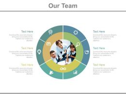 Our Team With Circular Chart With Icons Powerpoint Slides