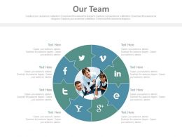 Our Team With Social Media Communication Puzzle Chart Powerpoint Slides