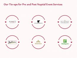 Our Tie Ups For Pre And Post Nuptial Event Services Ppt Inspiration