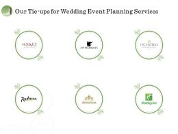 Our Tie Ups For Wedding Event Planning Services Ppt File Example Introduction