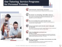Our Tutoring Service Programs For Personal Training Ppt Powerpoint Ideas