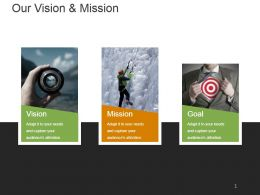 Our Vision Mission Goals With Three Images Ppt Slides