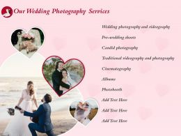 Our Wedding Photography Services Ppt Powerpoint Presentation Design
