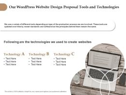 Our Wordpress Website Design Proposal Tools And Technologies Ppt Slides