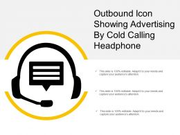 Outbound Icon Showing Advertising By Cold Calling Headphone