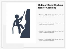 Outdoor Rock Climbing Icon Or Abseiling