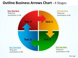 Outline Business Arrows Chart 4 Stages diagrams 9