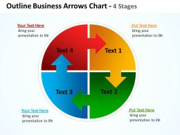 outline business arrows in circular flow interconnected pie chart 4 stages powerpoint templates 0712