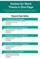 Outline For Work Thesis In One Page Presentation Report Infographic PPT PDF Document