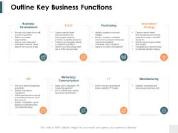 Outline Key Business Functions Ppt Powerpoint Presentation Ideas Objects