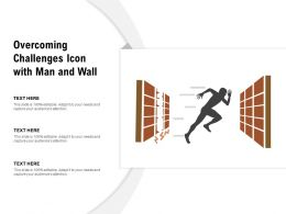 Overcoming Challenges Icon With Man And Wall