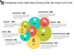 Overlapping Circles Eight Steps Showing Dollar Bar Graph And Pie Chart