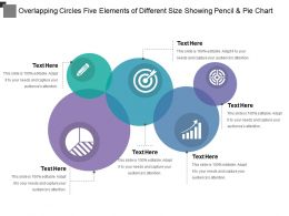 Overlapping Circles Five Elements Of Different Size Showing Pencil And Pie Chart
