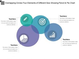 Overlapping Circles Four Elements Of Different Size Showing Pencil And Pie Chart