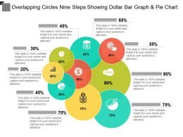 Overlapping Circles Nine Steps Showing Dollar Bar Graph And Pie Chart