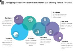 Overlapping Circles Seven Elements Of Different Size Showing Pencil And Pie Chart