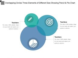 Overlapping Circles Three Elements Of Different Size Showing Pencil And Pie Chart