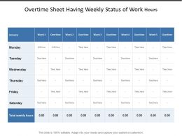 Overtime Sheet Having Weekly Status Of Work Hours