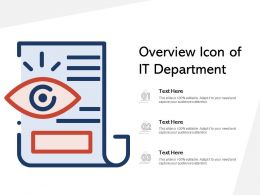 Overview Icon Of IT Department