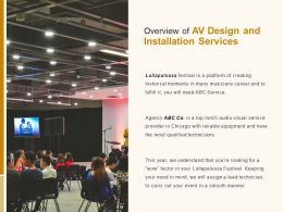 Overview Of Av Design And Installation Services Ppt Powerpoint Presentation File Vector