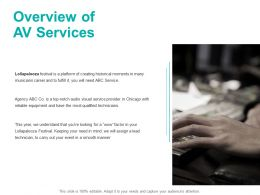 Overview Of AV Services Ppt Powerpoint Presentation Pictures Elements