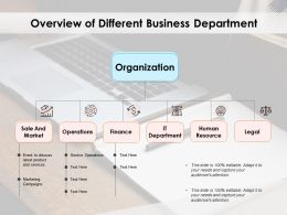 Overview Of Different Business Department
