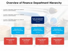 Overview Of Finance Department Hierarchy