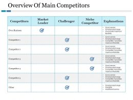 Overview Of Main Competitors Ppt Gallery Deck